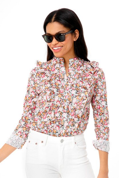 floral ruffle button down