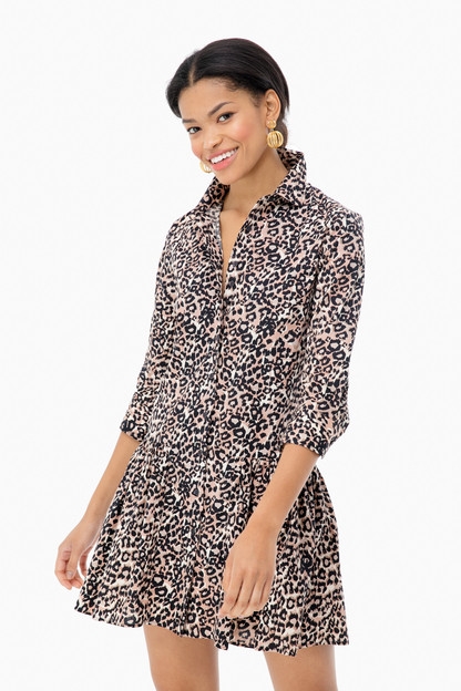 Leopard Drop Waist Shirt Dress