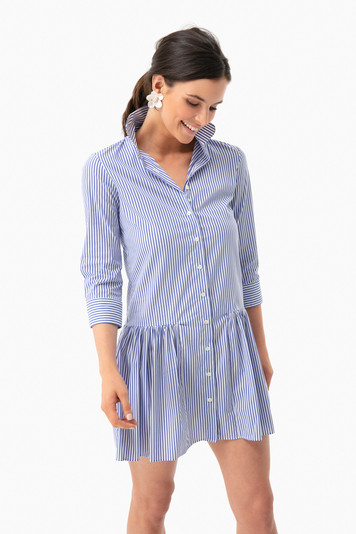 blue striped drop waist shirt dress