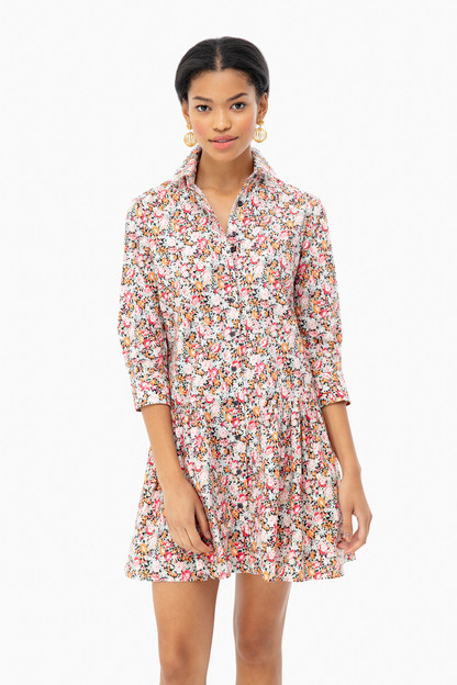 Black Floral Drop Waist Shirt Dress