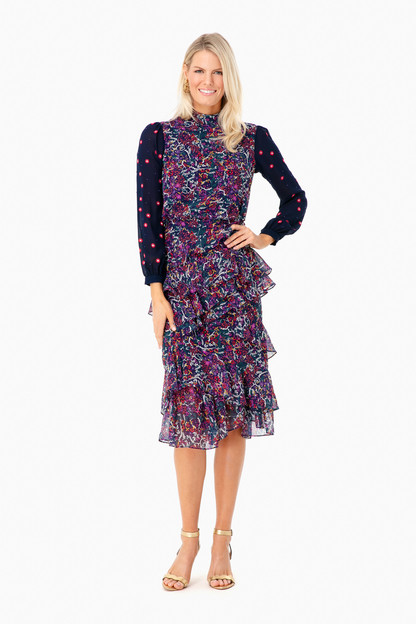 embroidered isa ruffle dress