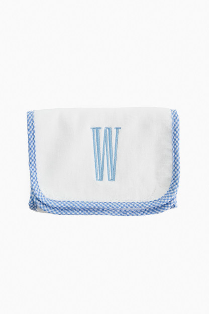 gingham trimmed terry burp cloth
