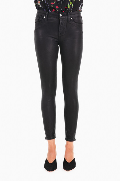 Black Coated Ankle Skinny Jeans
