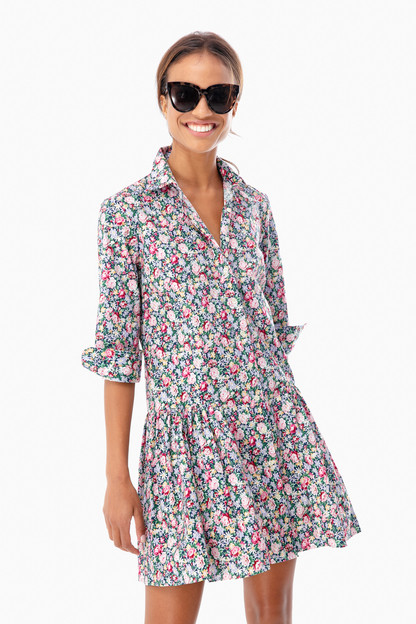 rose floral drop waist shirt dress