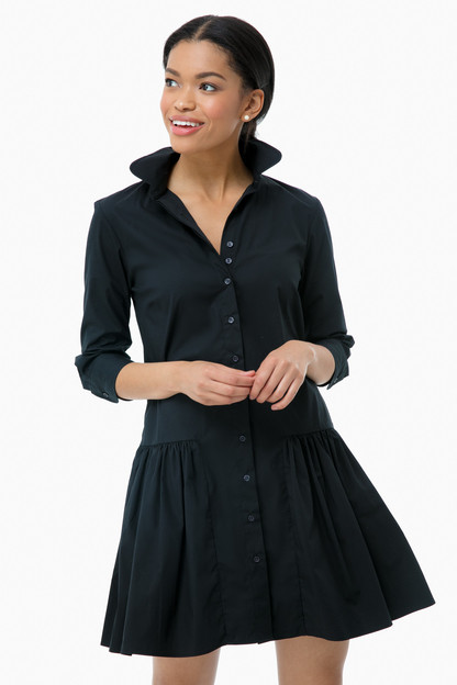 black drop waist shirt dress