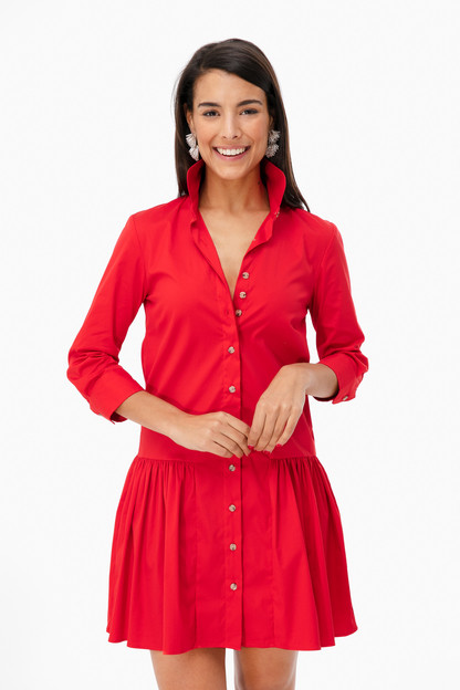 red drop waist shirt dress