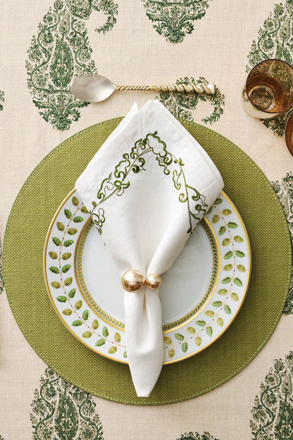 set of 4 green provence placemat