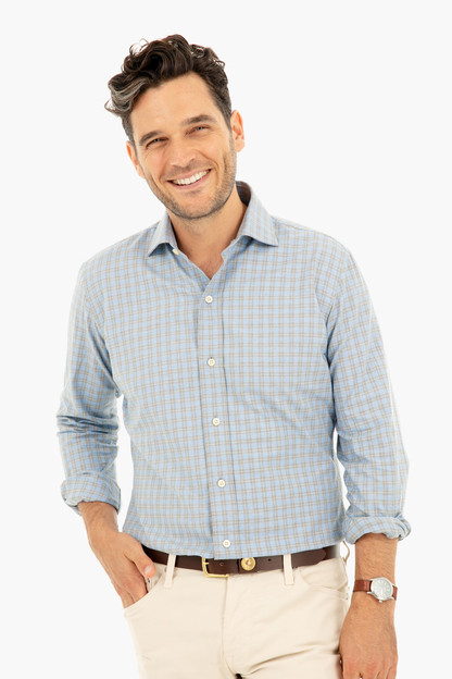 sondra check button down