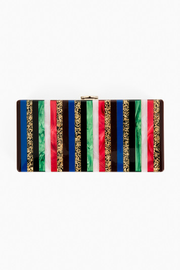 mixed stripe clutch