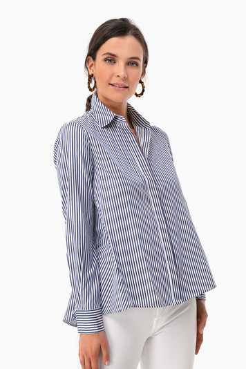 striped nina swing button down
