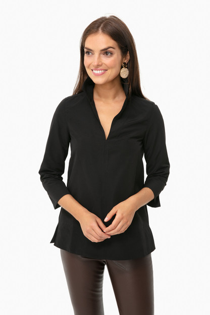 black margot stand collar blouse