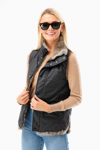 hudson reversible wax coated fur vest