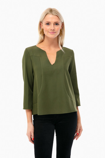 forest celeste v-neck blouse