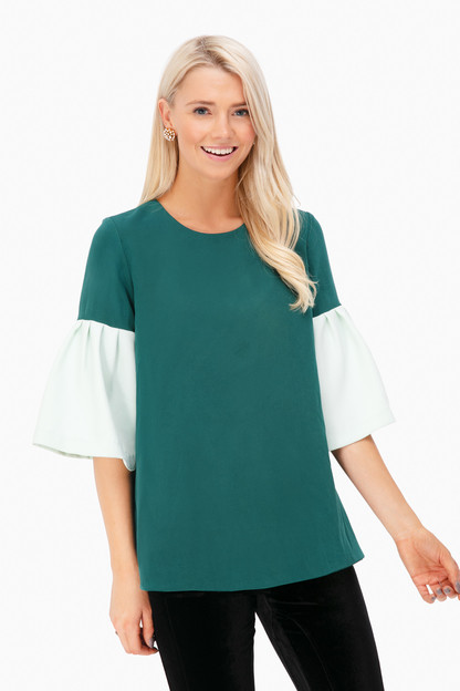 dark green harper bell sleeve blouse