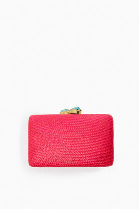red jen straw clutch