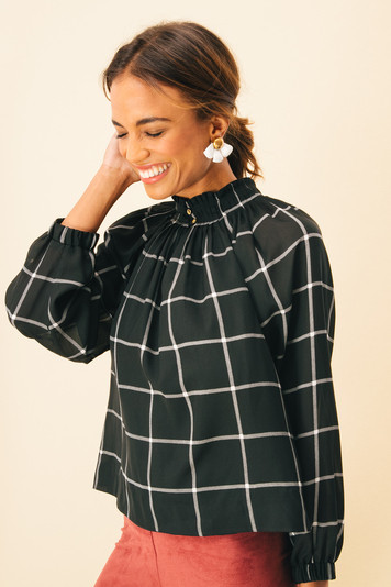 check arden blouse