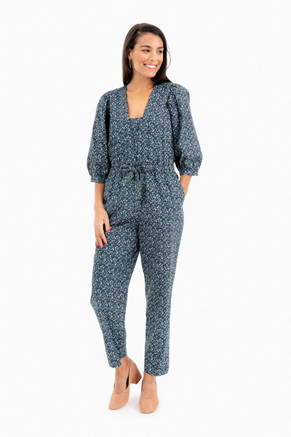Short Sleeve Chinon Floral Jumpsuit