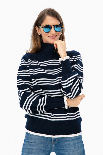 striped turtleneck pullover