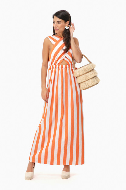 orange striped rosario dress
