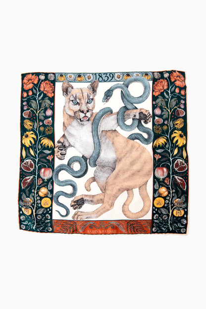 cougar and serpent silk neckerchief