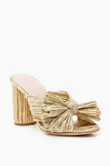 gold penny knot mules