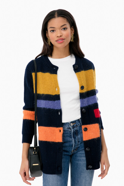 Colorblock Mohair Sweater Coat