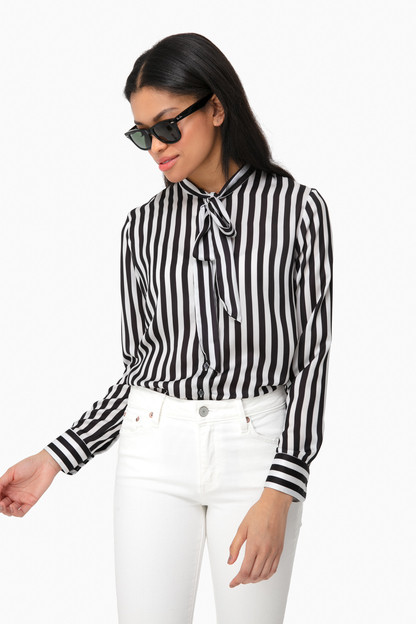 striped crepe button down