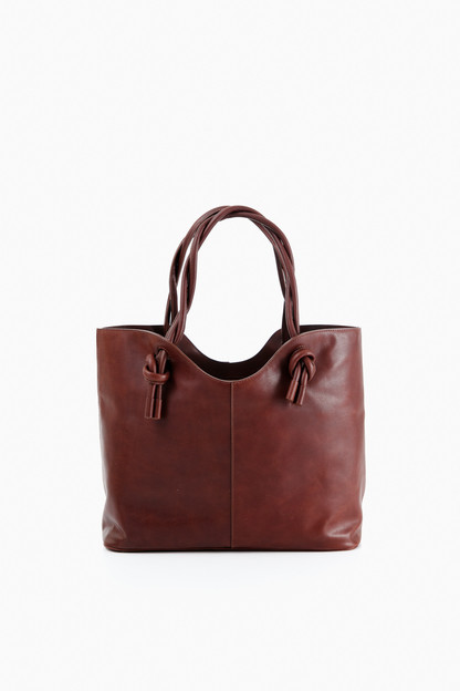leather twist tote