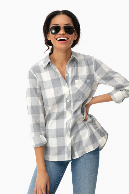 greenwich buffalo check button down