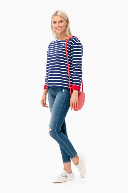 striped double faced pullover