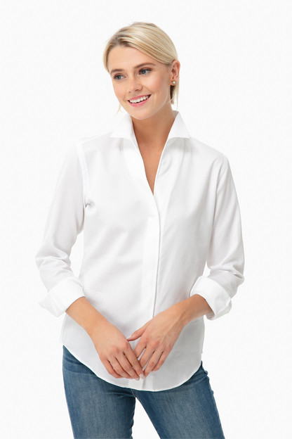 White Pique-a-Boo Signature Shirt This item ships directly from the vendor within 3 business days.