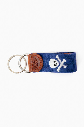 jolly roger needlepoint key fob