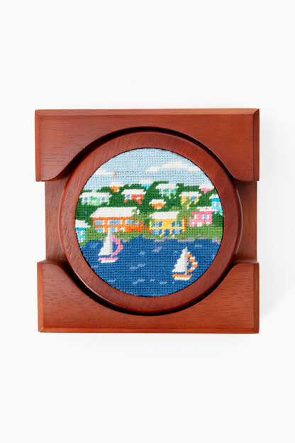 island times needlepoint coaster set