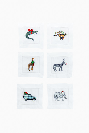 party animal holiday cocktail napkins (set of 6)