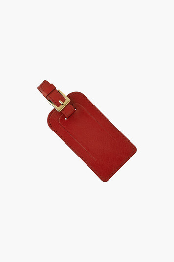 red traditional leather luggage tag