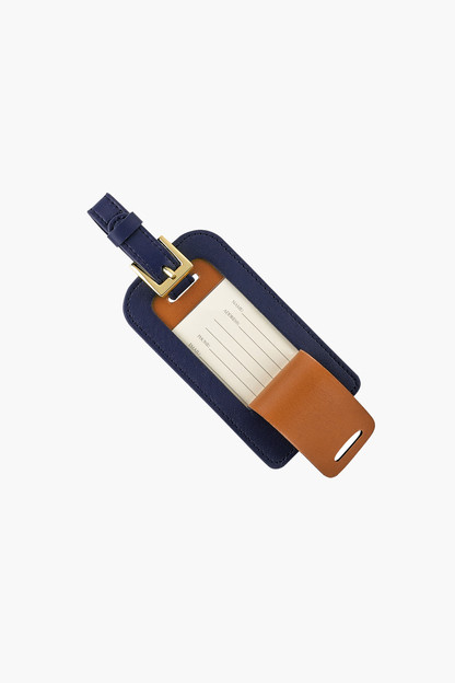 navy traditional leather luggage tag