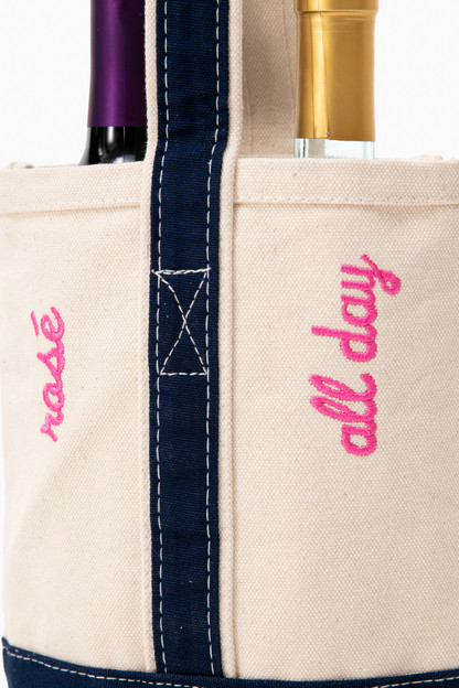 rosé all day embroidered wine tote