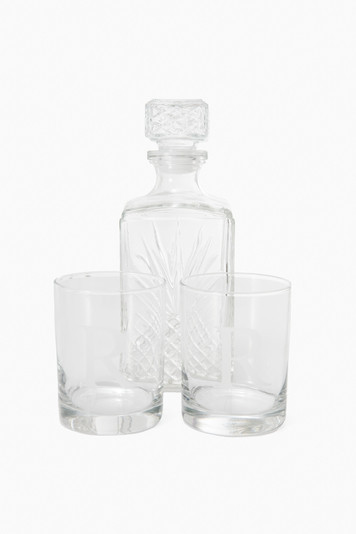 whiskey decanter with glasses
