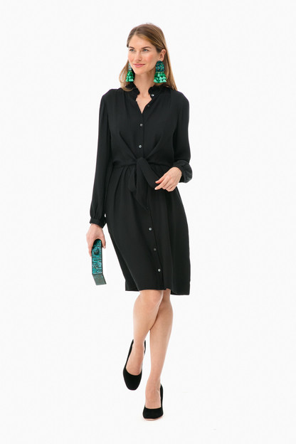 long sleeve silk tie dress