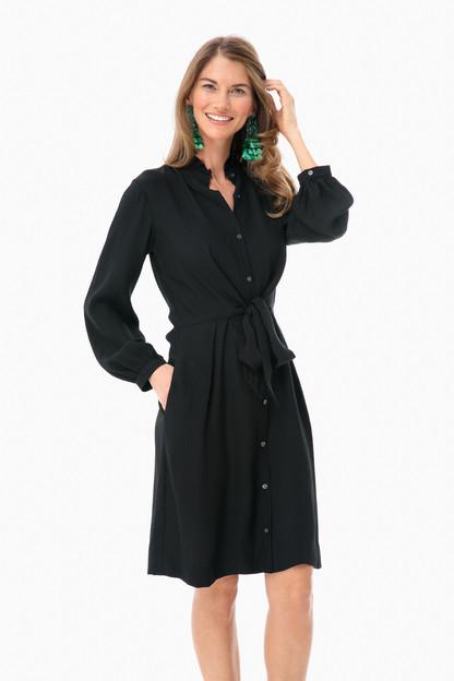 long sleeve silk tie dress