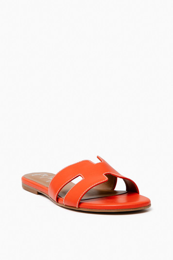 orange leather alibi sandals