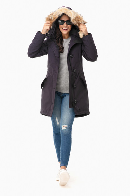 navy rossclair parka