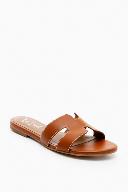 cognac leather alibi sandals