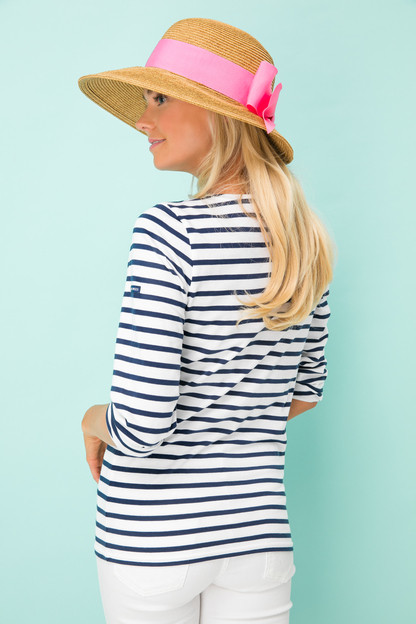 pink packable wide bow sun hat