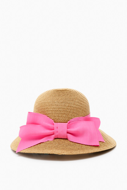 pink packable wide bow sunhat