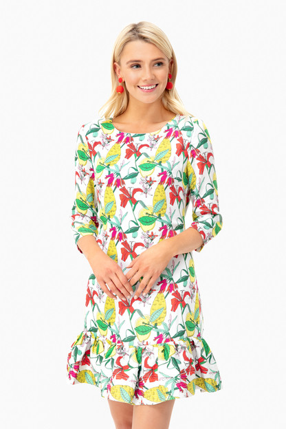 green flowers poppy dress