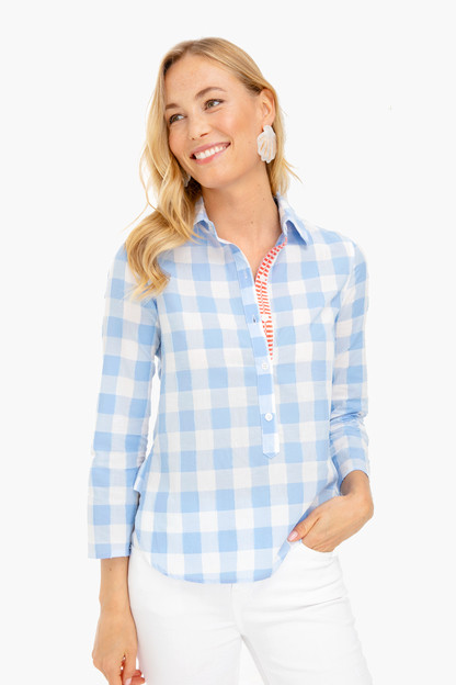 soft blue gingham sunna top
