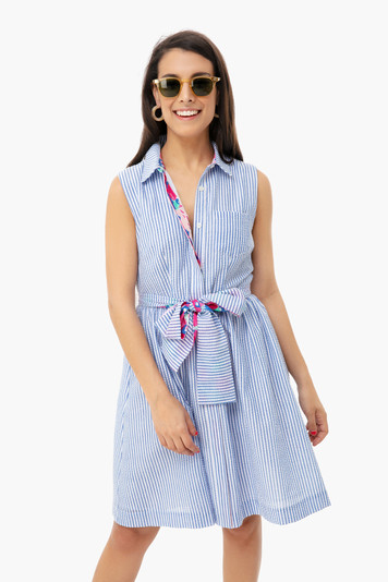 derby seersucker shirt dress