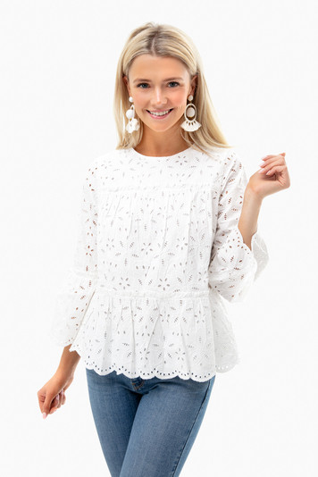 white cap eyelet tiered top