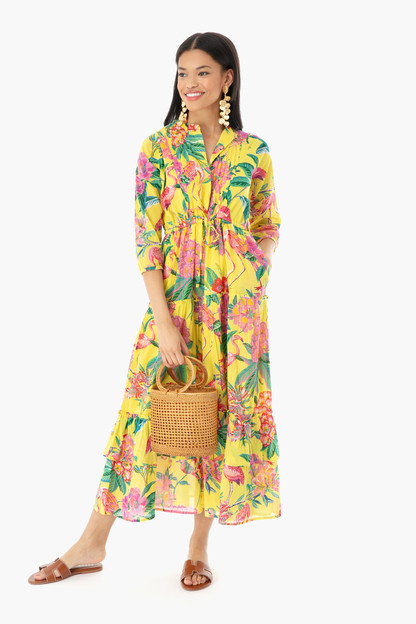 blazing yellow flamingo rhododendron bazaar dress